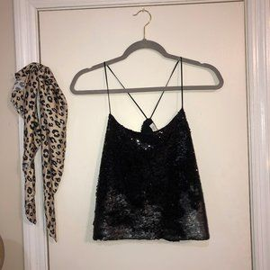 Sequin Black Cropped Tank Top